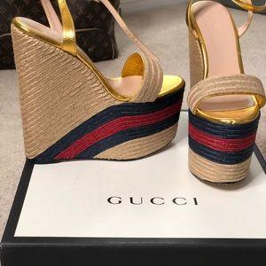 Gucci Gold Leather Web Platform Espadrille Wedge